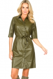 Dante 6    Faux leather dress Baroon   olive green    Picture 4