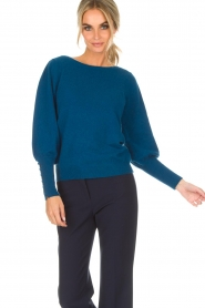 Not Shy |  Sweater met pofmouwen Peatrol | blue  | Picture 2