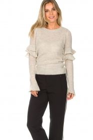 Patrizia Pepe |  Sweater with ruffles and glitters Delia | natural  | Picture 2
