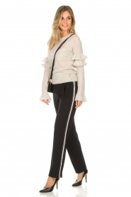 Patrizia Pepe |  Sweater with ruffles and glitters Delia | natural  | Picture 3