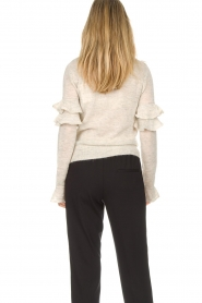 Patrizia Pepe |  Sweater with ruffles and glitters Delia | natural  | Picture 5