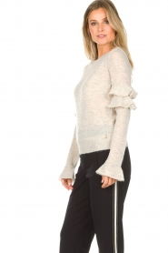 Patrizia Pepe |  Sweater with ruffles and glitters Delia | natural  | Picture 4