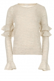 Patrizia Pepe |  Sweater with ruffles and glitters Delia | natural  | Picture 1