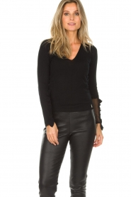 Patrizia Pepe |  Sweater with ruffles and mesh detail Felicia | black  | Picture 2