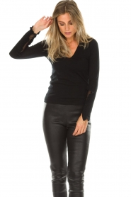 Patrizia Pepe |  Sweater with ruffles and mesh detail Felicia | black  | Picture 3
