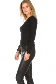 Patrizia Pepe |  Sweater with ruffles and mesh detail Felicia | black  | Picture 4