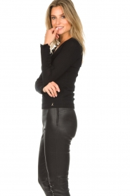 Patrizia Pepe |  Sweater with ruffles and mesh detail Felicia | black  | Picture 5