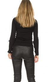 Patrizia Pepe |  Sweater with ruffles and mesh detail Felicia | black  | Picture 6