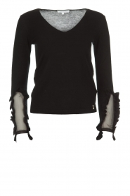 Patrizia Pepe |  Sweater with ruffles and mesh detail Felicia | black  | Picture 1