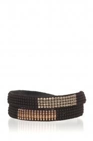 Tembi | Leren armband met kralen Double Wrap | zwart  | Afbeelding 1
