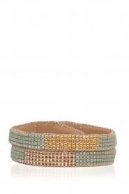 Tembi | Leren armband met kralen Double Wrap | groen  | Afbeelding 1