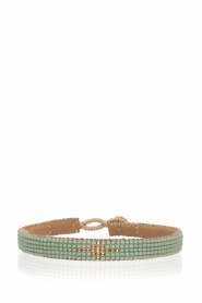 Leren armband Diamond Center (S) | groen