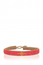 Tembi | Leren armband Diamond Center (S) | rood