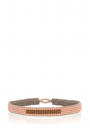 Tembi |  Leather bracelet with beads Bar | nude  | Picture 1