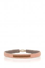 Tembi | Leren armband met kralen Bar | nude  | Afbeelding 1