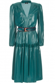 ELISABETTA FRANCHI |  Metallic finished midi dress Mariella | blue  | Picture 1