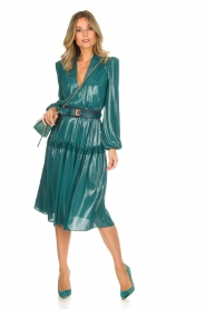 ELISABETTA FRANCHI |  Metallic finished midi dress Mariella | blue  | Picture 3