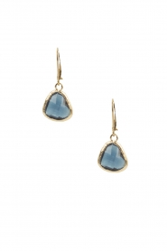 Lilly | 14k goud vergulden oorbellen Drop Crystal | blauw
