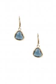 Lilly | 14k goud vergulden oorbellen Drop Crystal | blauw  | Afbeelding 2