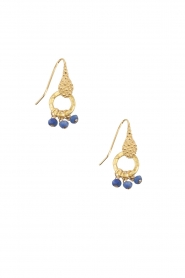 Lilly | 18k goud vergulden oorbellen Bunch Pearl | blauw