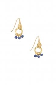Lilly | 18k goud vergulden oorbellen Bunch Pearl | blauw  | Afbeelding 2