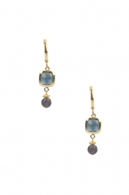 Lilly |  14k gold plated earrings Square | blue  | Picture 2