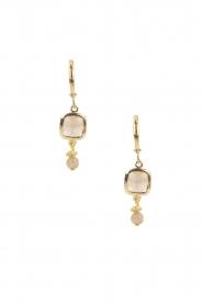 Lilly | 14k goud vergulden oorbellen Square | roze  | Afbeelding 2