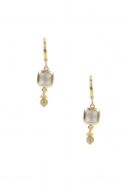 Lilly |  14k gold plated earrings Square | grey  | Picture 1