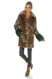 Kocca | Faux-fur jas met luipaardprint Gillet | dierenprint  | Afbeelding 7