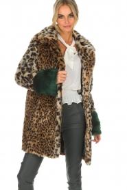 Kocca | Faux-fur jas met luipaardprint Gillet | dierenprint  | Afbeelding 2