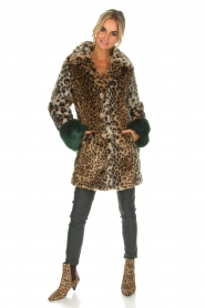 Kocca | Faux-fur jas met luipaardprint Gillet | dierenprint  | Afbeelding 3