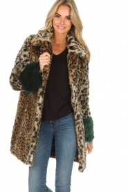 Kocca |  Faux-fur coat with leopard print Gillet | animal print  | Picture 6