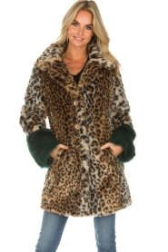Kocca |  Faux-fur coat with leopard print Gillet | animal print  | Picture 2