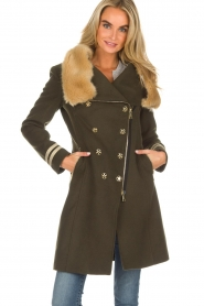 Kocca |  Coat with faux fur collar Bawtok | green  | Picture 9