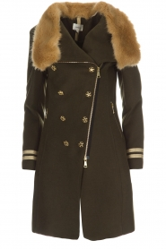 Kocca |  Coat with faux fur collar Bawtok | green  | Picture 1