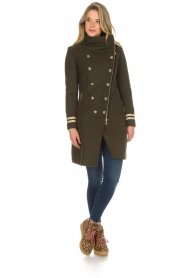Kocca |  Coat with faux fur collar Bawtok | green  | Picture 7