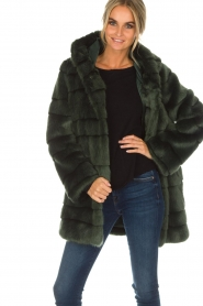Kocca | Faux-fur jas Kimberly | groen  | Afbeelding 2
