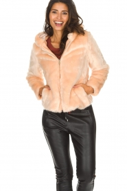 Kocca |  Faux-fur coat with hoodie | nude  | Picture 2