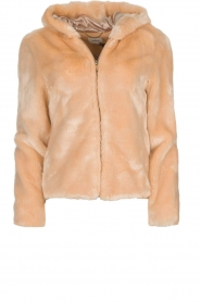 Kocca |  Faux-fur coat with hoodie | nude  | Picture 1