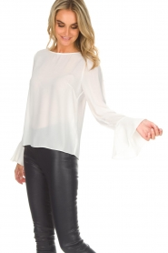 Kocca |  Top with trumpet sleeves Eliva | white  | Picture 2