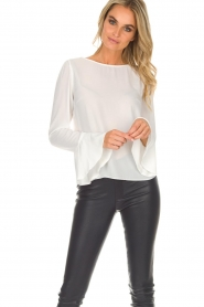 Kocca |  Top with trumpet sleeves Eliva | white  | Picture 4