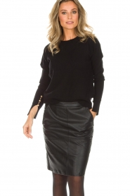 Hunkydory |  Sweater with golden buttons Levi | black   | Picture 2