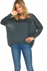 Rabens Saloner |  Glitter sweater Nana | blue  | Picture 4
