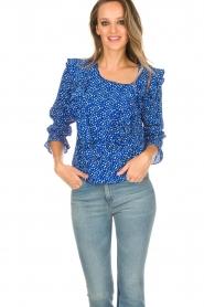 Lolly's Laundry | Blouse met volant Jessy | blauw  | Afbeelding 2