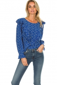 Lolly's Laundry |  Blouse with volant Jessy | blue  | Picture 4
