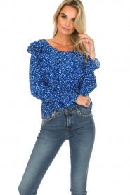Lolly's Laundry |  Blouse with volant Jessy | blue  | Picture 2