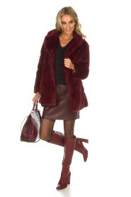 Lolly's Laundry |  Faux-fur coat Emma | bordeaux  | Picture 3