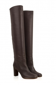 L'Autre Chose |  Leather knee-high boots Nathalia | grey  | Picture 4