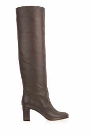 L'Autre Chose |  Leather knee-high boots Nathalia | grey  | Picture 1