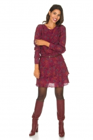 Dante 6 |  Skirt with floral print Riva | Bordeaux  | Picture 3